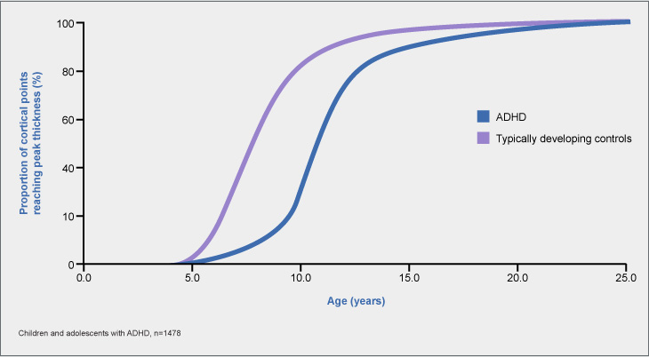 Rate of cortical maturation in patients with and without ADHD