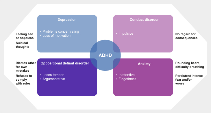 ADHD and psychiatric comorbidities in children and adolescents: descriptive overlapping and distinct features