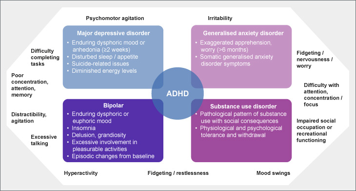 ADHD and psychiatric comorbidities in adults: descriptive overlapping and distinctive features