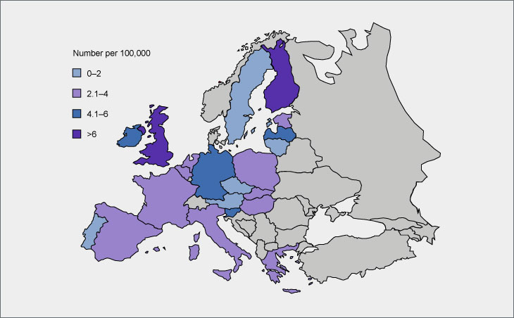 Number of CAMHS per 100,000 young people in EU countries